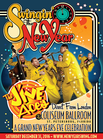 Swingin' the New Year! Grand New Year's Eve Swing Dance Celebration for All Ages 12/31/2016 at the Spectacular St. Petersburg Coliseum featuring live music by The Jive Aces!