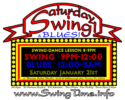 Saturday Swing & Blues Dance the 3rd Saturday of every month at Simone Salsa studio in Tampa Florida