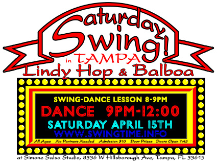 SATURDAY SWING Lindy Hop & Balboa Dance the 3rd Saturday of every month at Simone Salsa studio in Tampa Florida