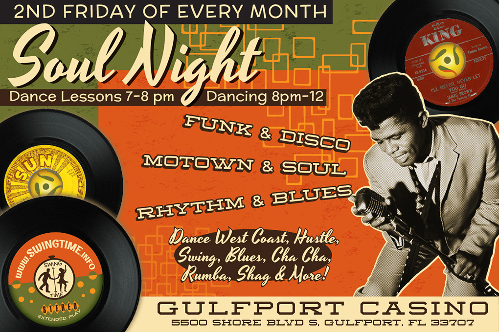 Soul Night, 2nd Fridays Monthly, at Gulfport Casino Ballroom in Tampa Bay FL