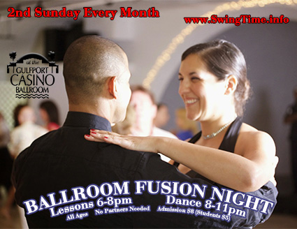 Ballroom Dance Fusion Night the Second Sunday of Every Month at the Gulfport Casino Ballroom in Tampa Bay Florida