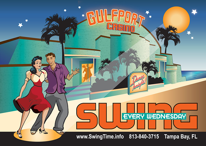 Gulfport Casino Swing Night! Swing Dance Every Wednesday at the Gulfport Casino Ballroom, Tampa Bay, Florida